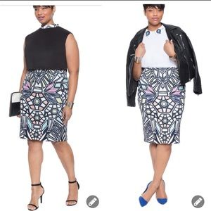 Eloquii scuba stained glass pencil skirt